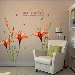 Wall Sticker, Hatop Red Lily Flower Wall Stickers Removable