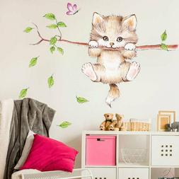 wall stickers for kids rooms home decoration Cute cat butter