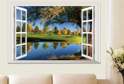 Wall Stickers Scenery natural Lake 3D Window Home decor Room