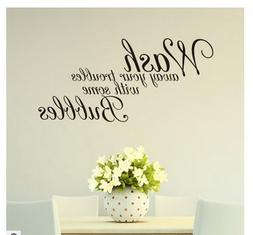 Edtoy Wash Away Your Troubles Bathroom Bedroom Quote PVC Wal