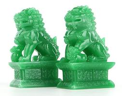 Wealth Porsperity Pair of Fu Foo Dogs Guardian Lion Statues,