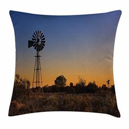 Windmill Decor Throw Pillow Cushion Cover by Ambesonne, Suns