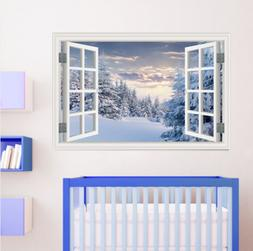 Winter White Snow Tree 3D Fake Window Wall Stickers Home Wal