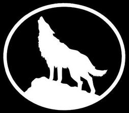 WOLF Vinyl Decal Sticker Car Window Wall Bumper Howling Oval