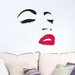 Women's Face Star Decor Face Red Lips Sticker Removable Wall