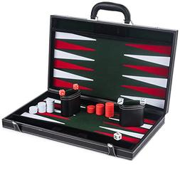 Smart Tactics Premium Backgammon Set - Large 17'' Wood & PU