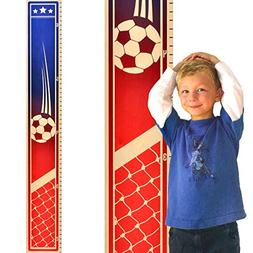 Growth Chart Art | Wooden Sports Growth Chart for Kids, Boys