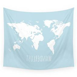 Society6 World Map - Wanderlust Quote - Modern Travel Map In