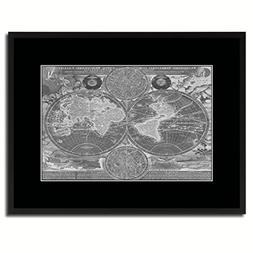 World Old Monochrome Map 40089 Print on Canvas with Picture