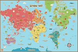 Wall Pops Wpe0624 Kids World Dry Erase Map