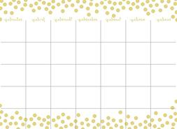Wall Pops WPE1940 Gold Confetti Monthly Calendar & Message B
