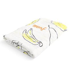 "Yellow Doddle Banana Cartoon Draw Swaddle Blanket 74"" Square"