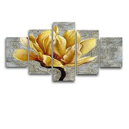 VIIVEI Yellow and Grey Flower Wall Art Abstract Oil Print on