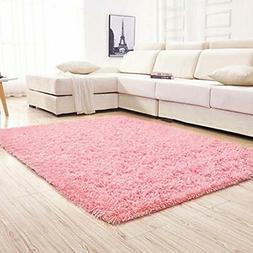 YJ.GWL Area Rugs Soft Pink Shaggy For Girls Room Bedroom Non