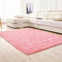 YJ.GWL Soft Pink Shaggy Area Rugs for Gi...