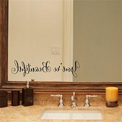 YINGKAI You're Beautiful Quote Mirror Decal Vinyl Decal Livi