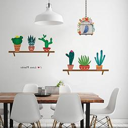 ZooartZooarts Cartoon Cactus Bird Cage wall stickers Decals